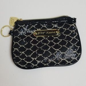 Betsey Johnson sequence black wristlet